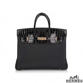 Hermès Birkin Touch 25cm Noir Novillo/ Niloticus Lisse and Noir Togo RGHW